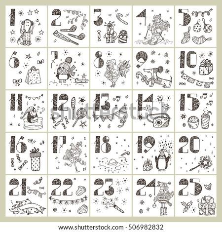 advent calendar coloring pages