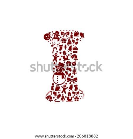 Christmas alphabet I on White Background - stock vector