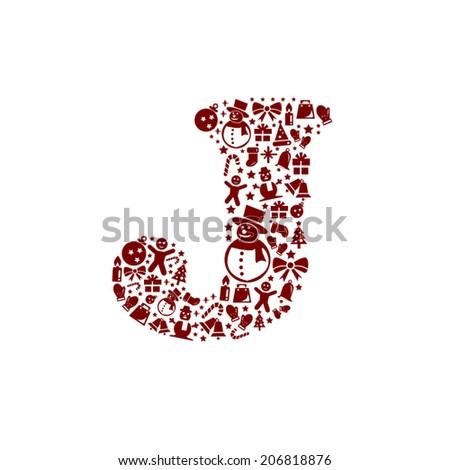 Christmas alphabet J on White Background - stock vector