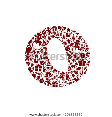 Christmas alphabet O on White Background - stock vector