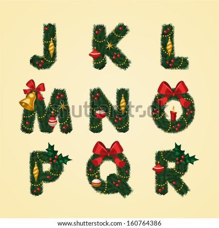 Christmas Alphabet. Vector illustration.  - stock vector