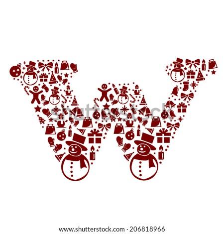 Christmas alphabet W on White Background - stock vector