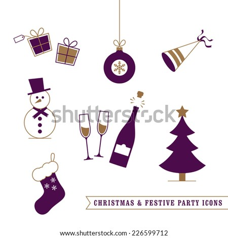 Christmas and Festive Icons  - stock vector
