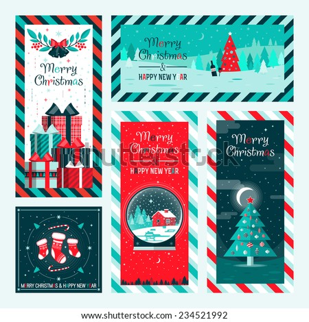 Christmas and Happy New Year greeting card templates. Happy holidays. Christmas card, poster, banner, frame. Flat vector illustration - stock vector