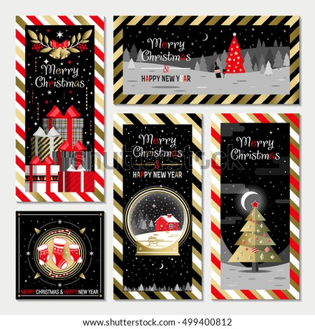 Christmas and Happy New Year greeting card templates. Happy holidays. Christmas card, poster, banner, frame. Flat vector illustration