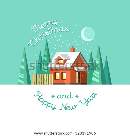 Christmas and Happy New Year greeting card. Winter house. Flat vector illustration. - stock vector