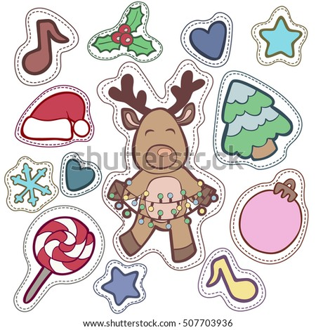 Christmas and Happy new year patch badges with Santa, Deer, Snowman, Fir-tree and other symbols of Holidays. Vector doodle illustrations isolated on blue background.