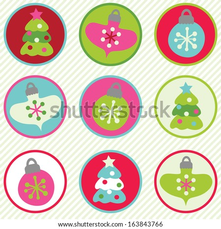 Christmas and Holiday Button Set - stock vector