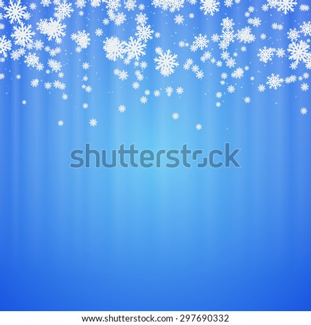 Christmas and New Year abstract blurry vector background with snowflakes and stars. Greeting or invitation card template - stock vector