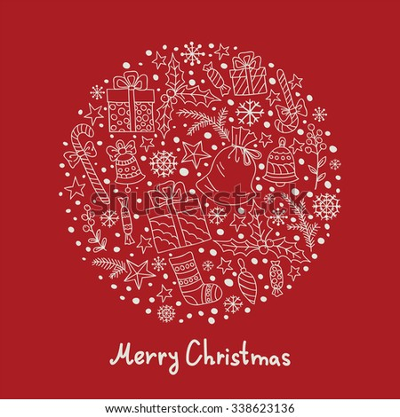 Christmas and New Year background with gifts, candies, stars and snowflakes gathered in a circle. White doodles on red background. Can be use for Christmas card design.  - stock vector