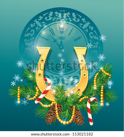 christmas and new year background with golden horse shoe - symbol 2014. - stock vector