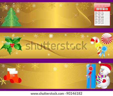 Christmas and new year banners with icon calendar; gifts and snowman. 10 EPS. Vector illustration.