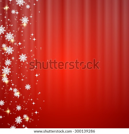 Christmas and New Year blurry red vector background with stars and snowflakes. Greeting or invitation card vector template. - stock vector