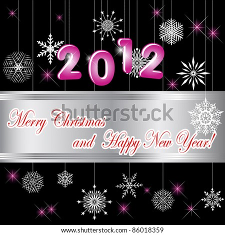 Christmas and new year card with banner and snowflakes. Vector illustration. - stock vector