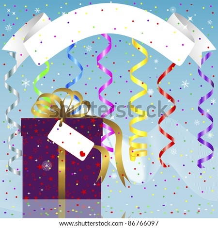 Christmas and new year card with banner, gift and paper streamer. Vector illustration.