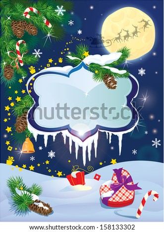 Christmas and New Year card with flying rein deers on sky background with glossy winter frames with snowdrifts and icicles, fir tree branches and presents. - stock vector