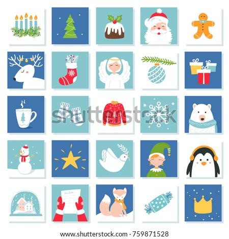 Christmas New Year Celebration Symbols Advent Stock Vector Hd