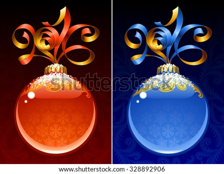 Christmas and New Year circle frame. Vector ribbon in the shape of 2016 and glass ball. Red and blue - stock vector