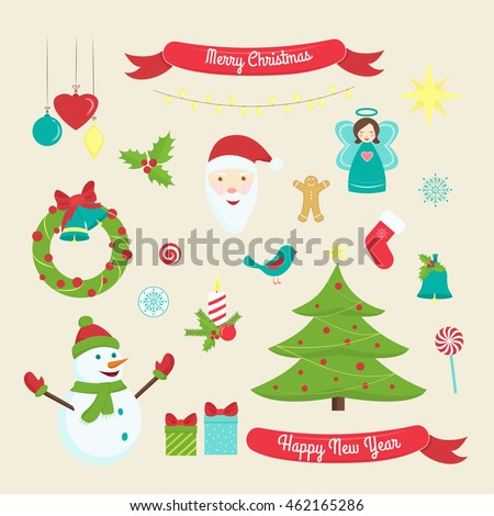 Christmas and New Year decoration symbols. Xmas design elements isolated on beige background.