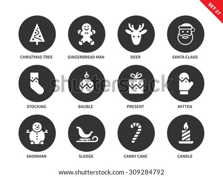 Christmas and New Year decorative vector icons set. Holiday items for festive design, christmas tree, gingerbread man, deer, santa, mitten, snowman, candy cane and sledge. Isolated on white background - stock vector