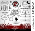 Christmas and New Year decorative vector set, silhouettes of Santa Claus and fairy, calligraphic elements, vintage and retro ornaments, banners, text, dividers with snowflakes and stars for design - stock photo