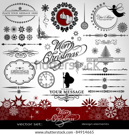Christmas and New Year decorative vector set, silhouettes of Santa Claus and fairy, calligraphic elements, vintage and retro ornaments, banners, text, dividers with snowflakes and stars for design - stock vector