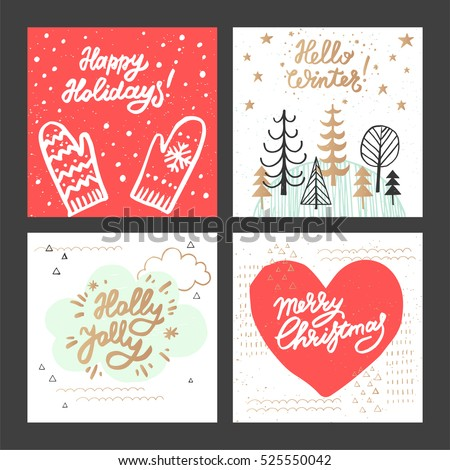 Christmas new year design greeting cards stock vector hd royalty christmas and new year design greeting cards set hand drawn vector illustrations for greeting cards m4hsunfo