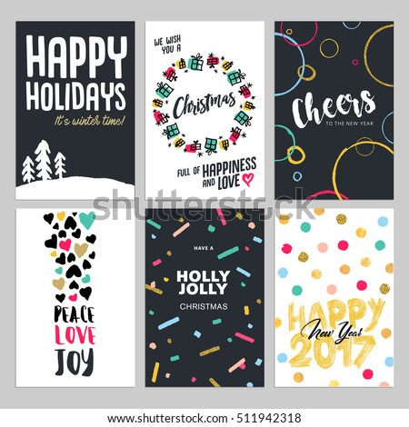 Christmas new year flat design greeting stock vector 511942318 christmas and new year flat design greeting cards set hand drawn vector illustrations for greeting m4hsunfo Image collections