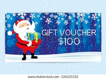 Christmas and New Year gift voucher with Santa Claus.