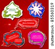 Christmas and New Year graphic speech bubbles and stickers design, using creative ornaments -Christmas tree, snowflake, cloud, banner and frame on the colored vintage paper - stock vector