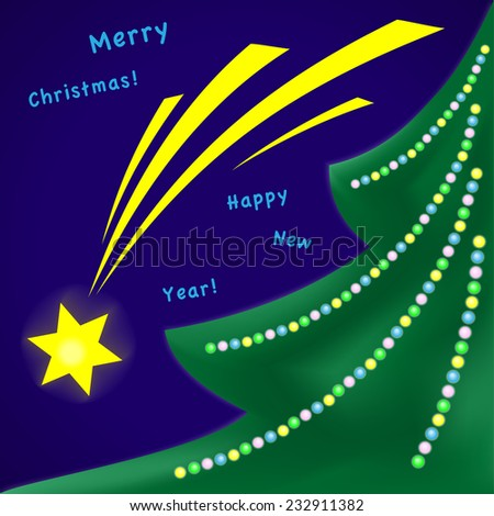 Christmas and New Year greeting card - stock vector
