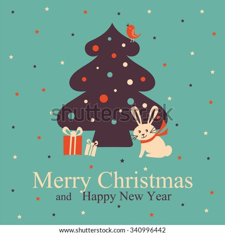 Christmas and New Year Greeting Card. - stock vector