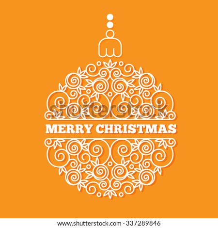 Christmas and New Year greeting card. Christmas ball of curls in a linear style.  Vector illustration. - stock vector