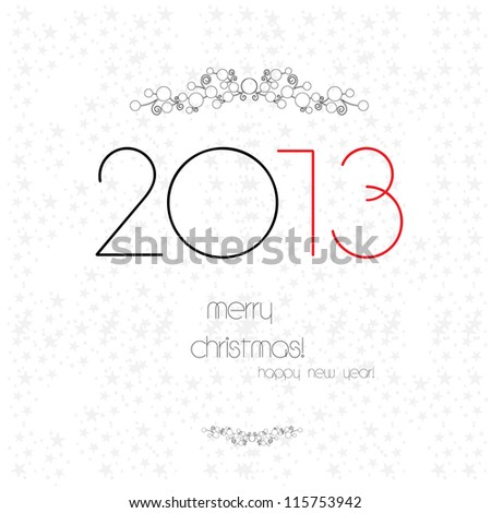 Christmas and New Year greeting card, eps8 - stock vector