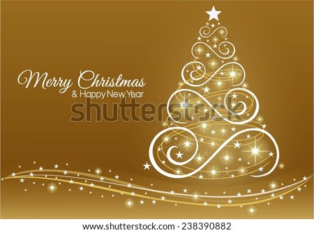 Christmas and New Year greeting card in gold colour.  - stock vector