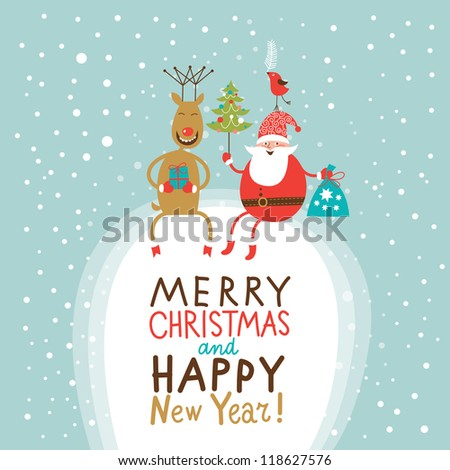 Christmas and New Year Greeting card, Santa Claus with gifts bag and Christmas tree and funny Deer - stock vector