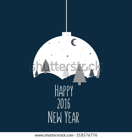 Christmas and New Year greeting card. Vector illustration.  - stock vector