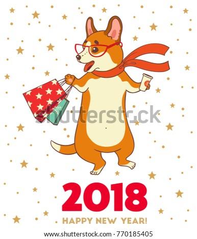 Christmas new year greeting card cartoon stock vector 770185405 christmas and new year greeting card with cartoon funny corgi dog vector illustration for use m4hsunfo
