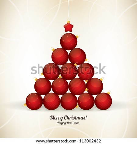 Christmas and New Year greeting card with fir-tree of the balls - stock vector