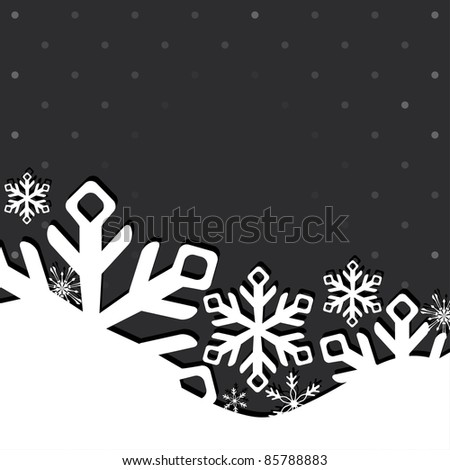 Christmas and New Year greeting card with snowflakes. Vector illustration - stock vector