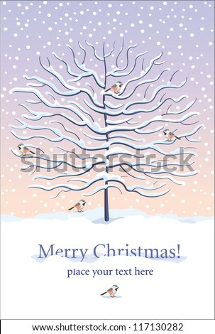 Christmas and New Year greeting card with winter tree and birds under the snow - stock vector