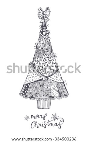 Christmas And New Year  Greeting Cards. Christmas tree. Zentangle style. Vector Illustration  - stock vector