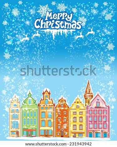 Christmas and New Year holidays card with snowy old town - stock vector