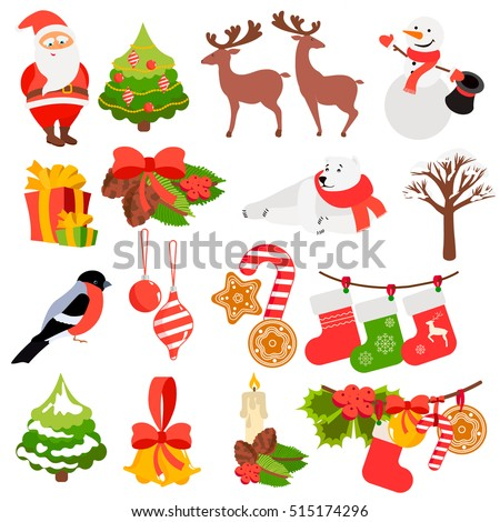 Christmas and New Year icons set. Collection of festive holiday items with Santa, xmas tree, gifts, polar bear and more. Vector illustration in flat style. Can be used for card, banner, invitation