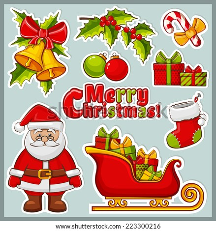 Christmas and New Year icons. Set of colorful elements for celebratory design. Collection of stickers for the Christmas decorations. Vector illustration. - stock vector