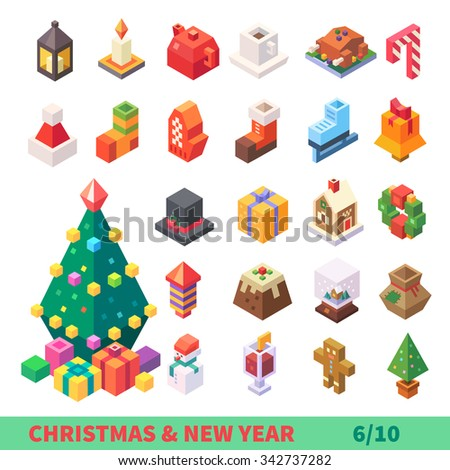 Christmas and New Year Isometric Set: isolated items: Xmas tree, lantern, candle, tea pot, xmas turkey, mittens, skates, bell, hat, present, gingerbread, fireworks, snowman. Flat vector illustration.  - stock vector