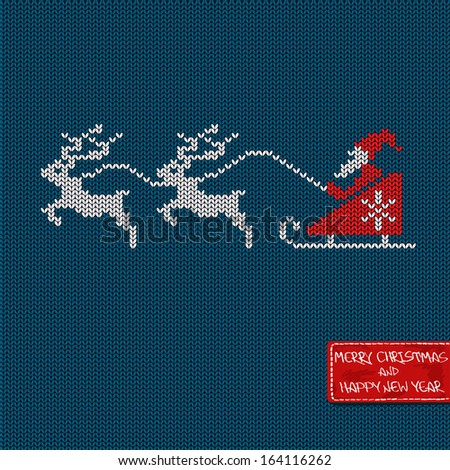 Christmas and New Year knitted pattern card with Santa in sleigh, deers and greeting tag - stock vector