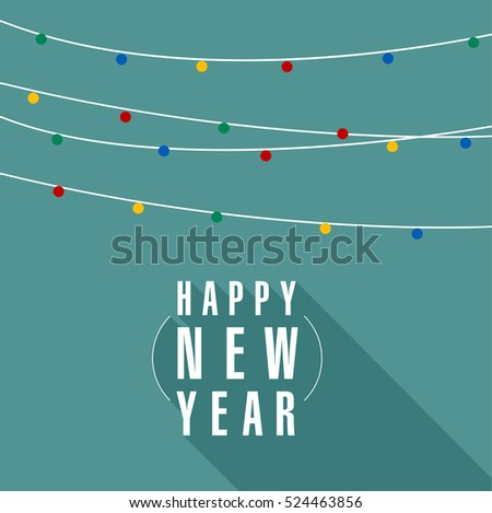 Christmas and New Year lights garland greeting card, poster, brochure, banner vector template.