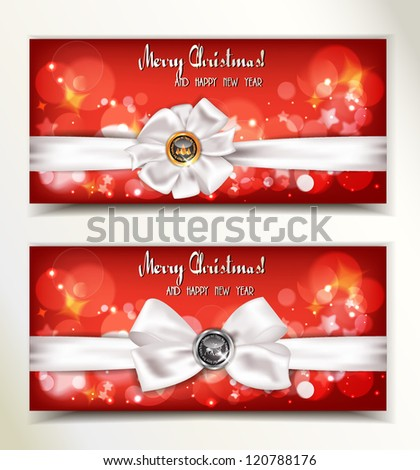 Christmas and New Year red banners with white ribbons - stock vector