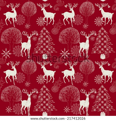 Christmas and New Year red festive background, xmas seamless pattern and wrapping paper, night forest with deer and christmas tree, winter wallpaper, artistic, vector holiday invitation for design - stock vector